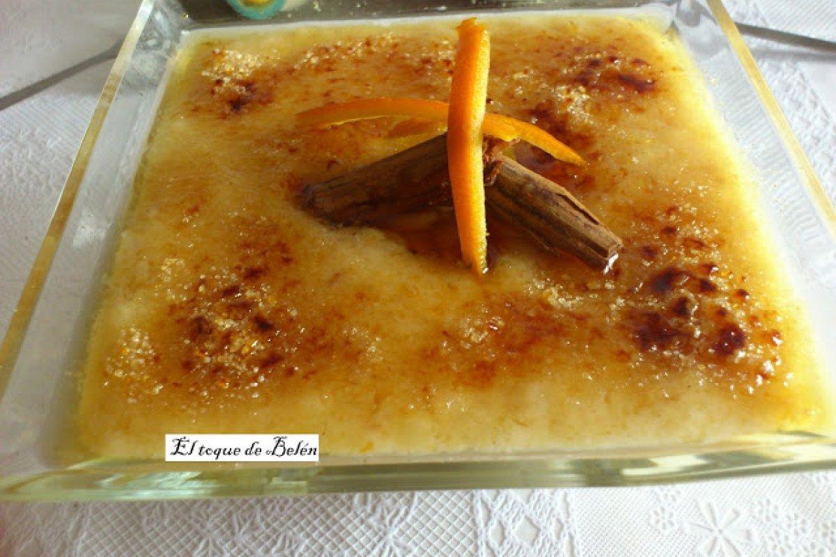 Arroz con leche cremoso asturiano con azúcar quemada