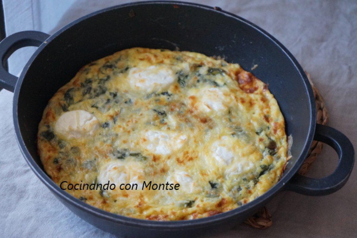 Tortilla al horno con acelgas y queso