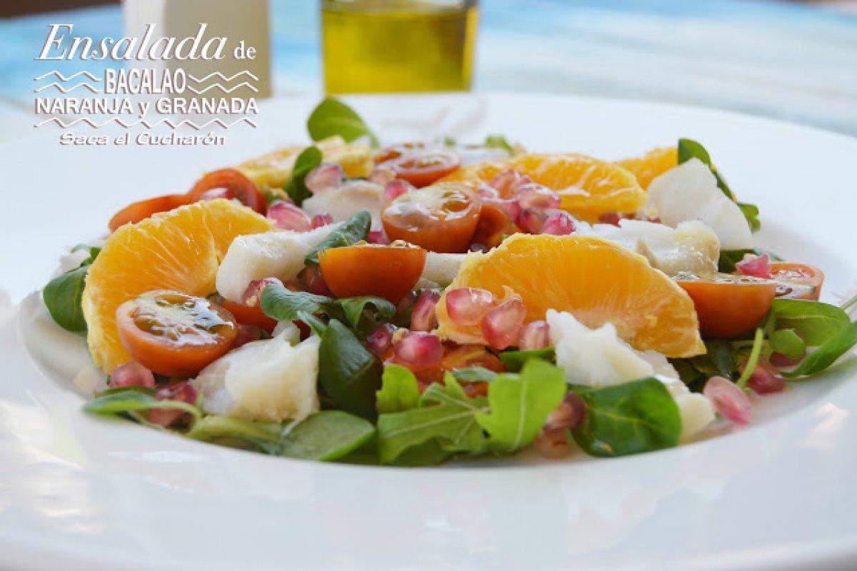 Ensalada de bacalao, naranja y granada