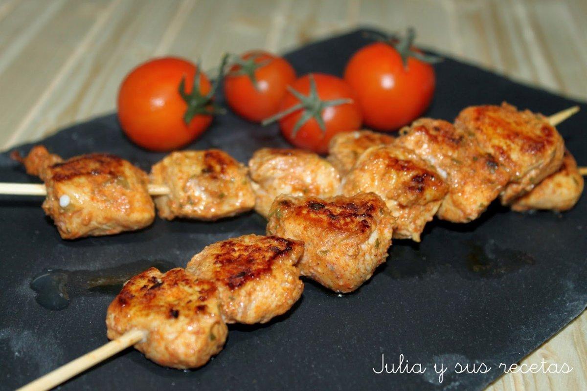 Pincho de pollo al curry