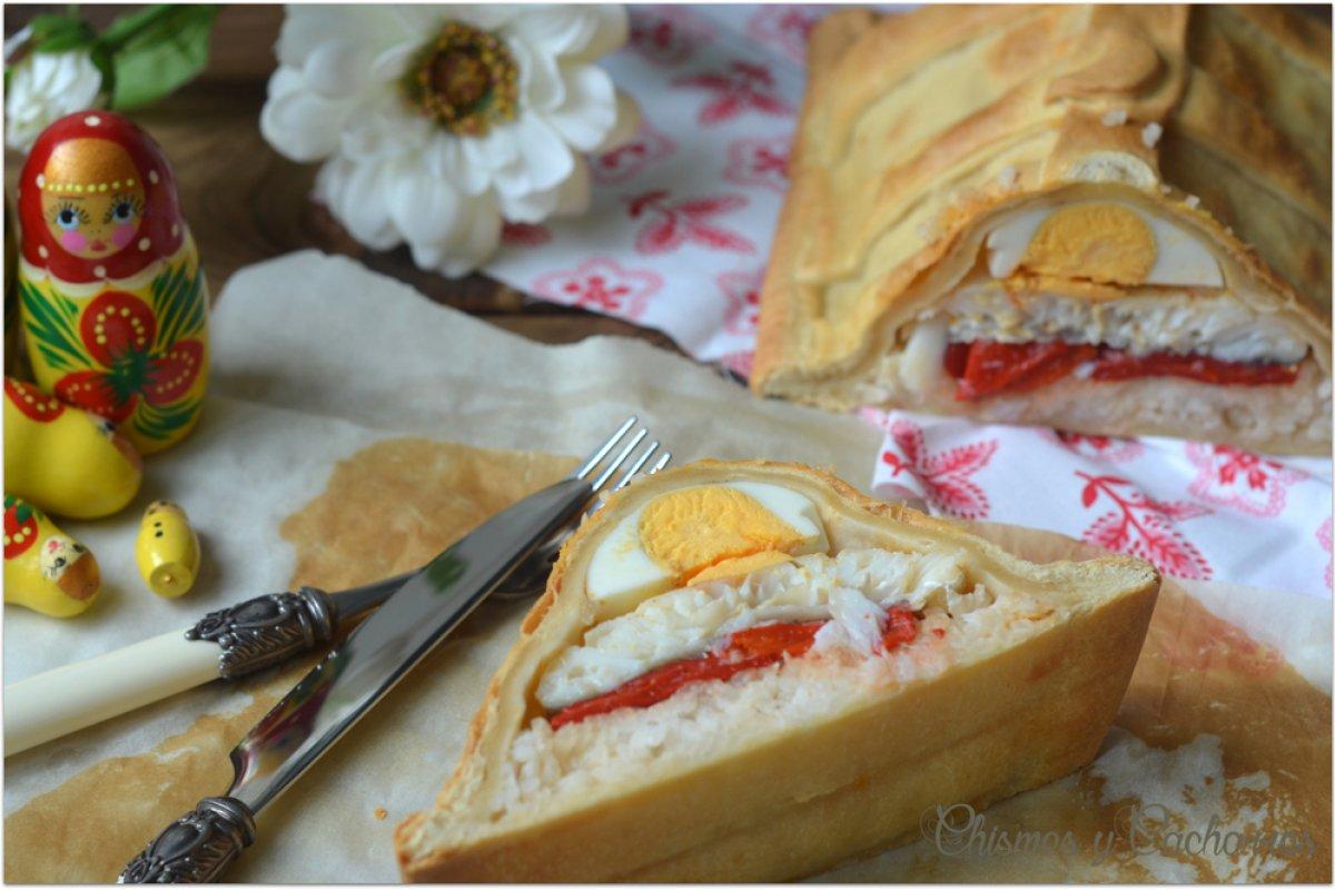Kulibiak o pastel de pescado ruso