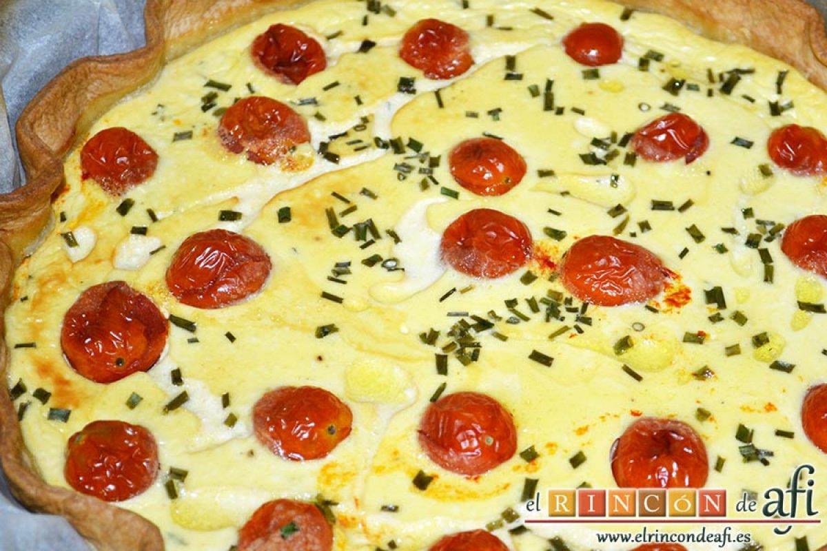 Quiche con queso de cabra y tomates cherry