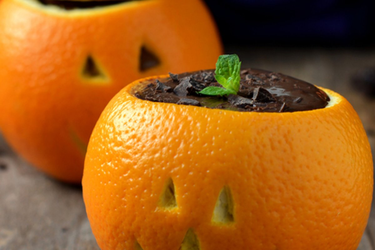 Mousse de chocolate y naranja para halloween