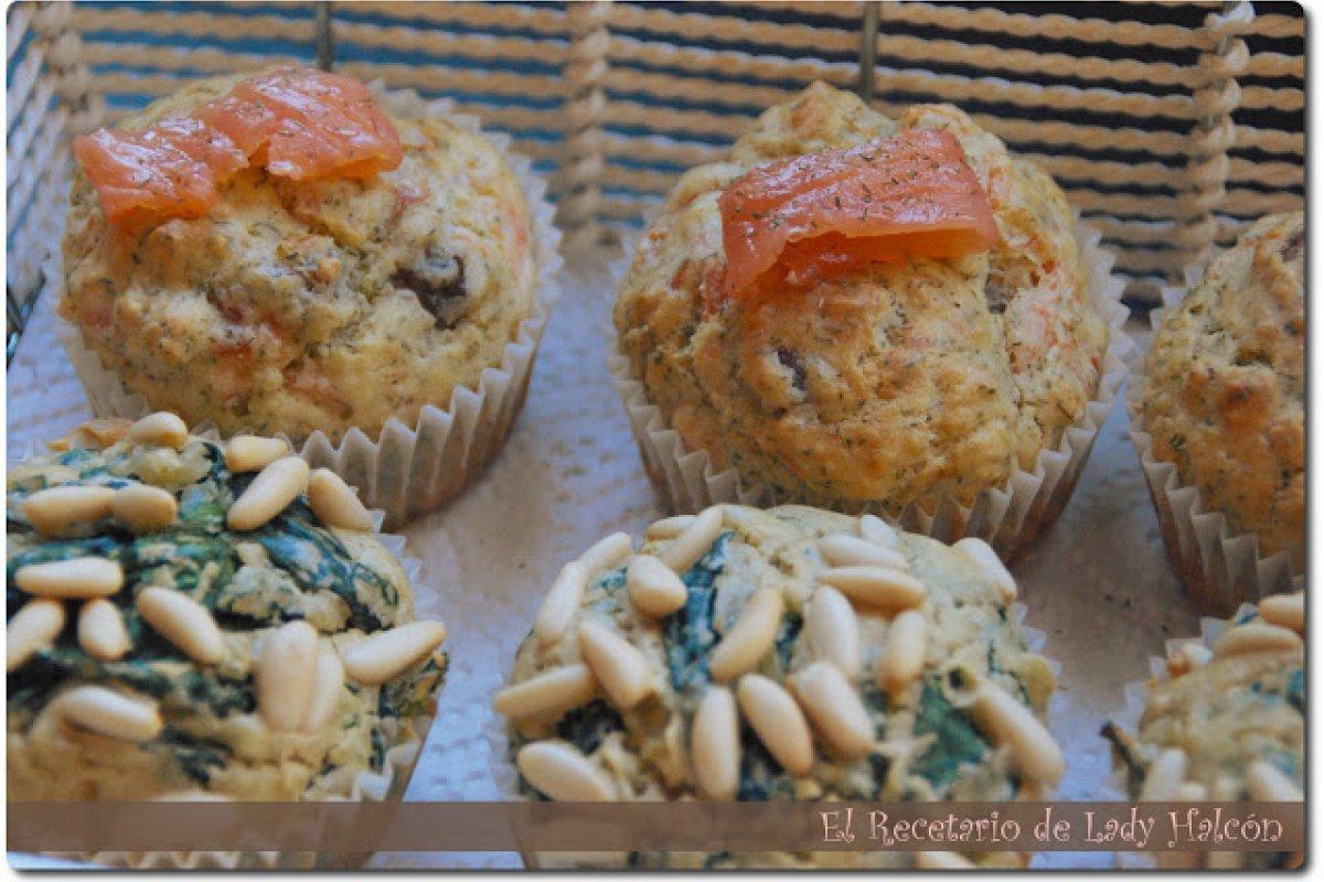Muffins salados de espinacas y salmón