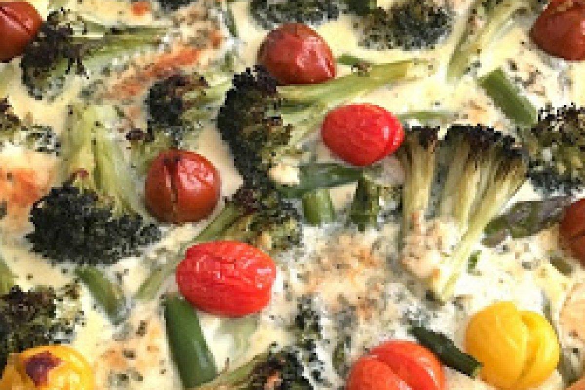 Quiche de brócoli, esparragos y cherry