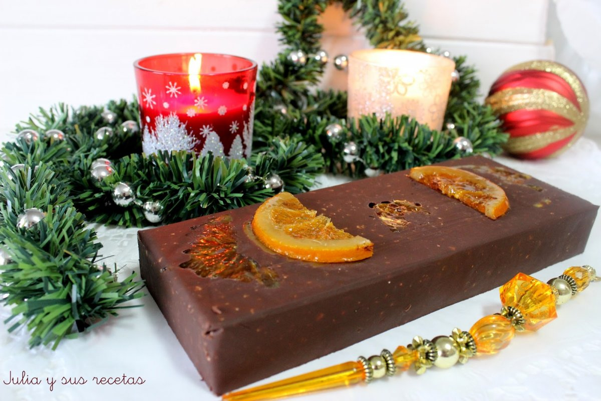Turrón de chocolate y naranja confitada