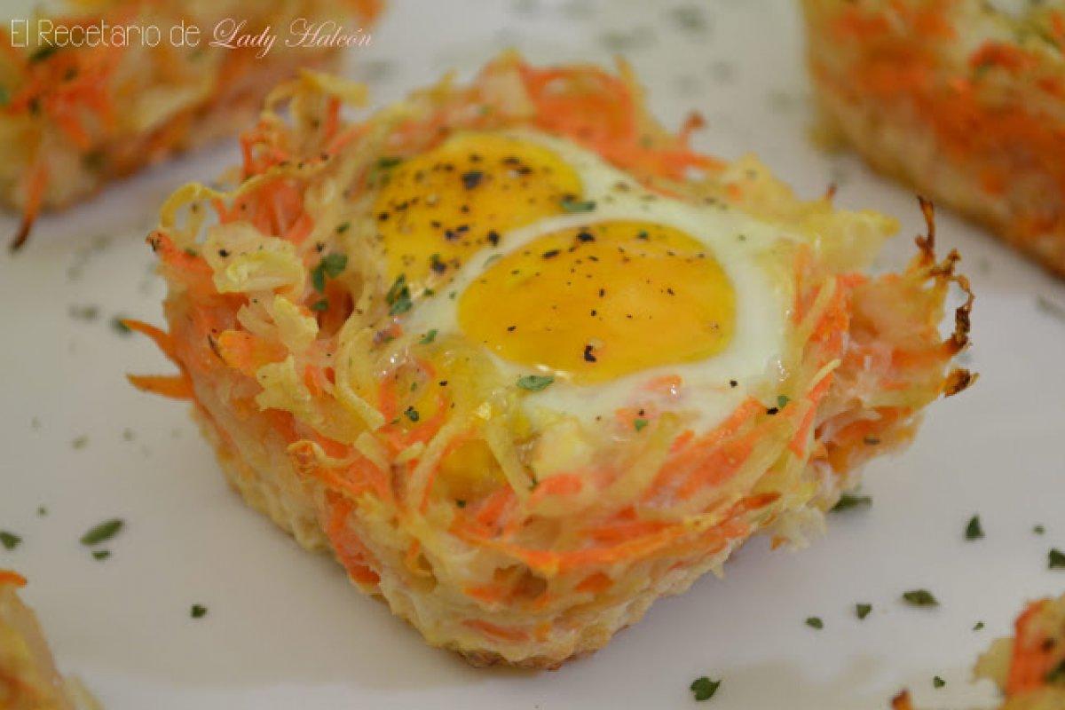 Nidos de patata y zanahoria