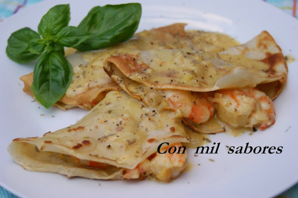 Crepes de langostinos al whishy