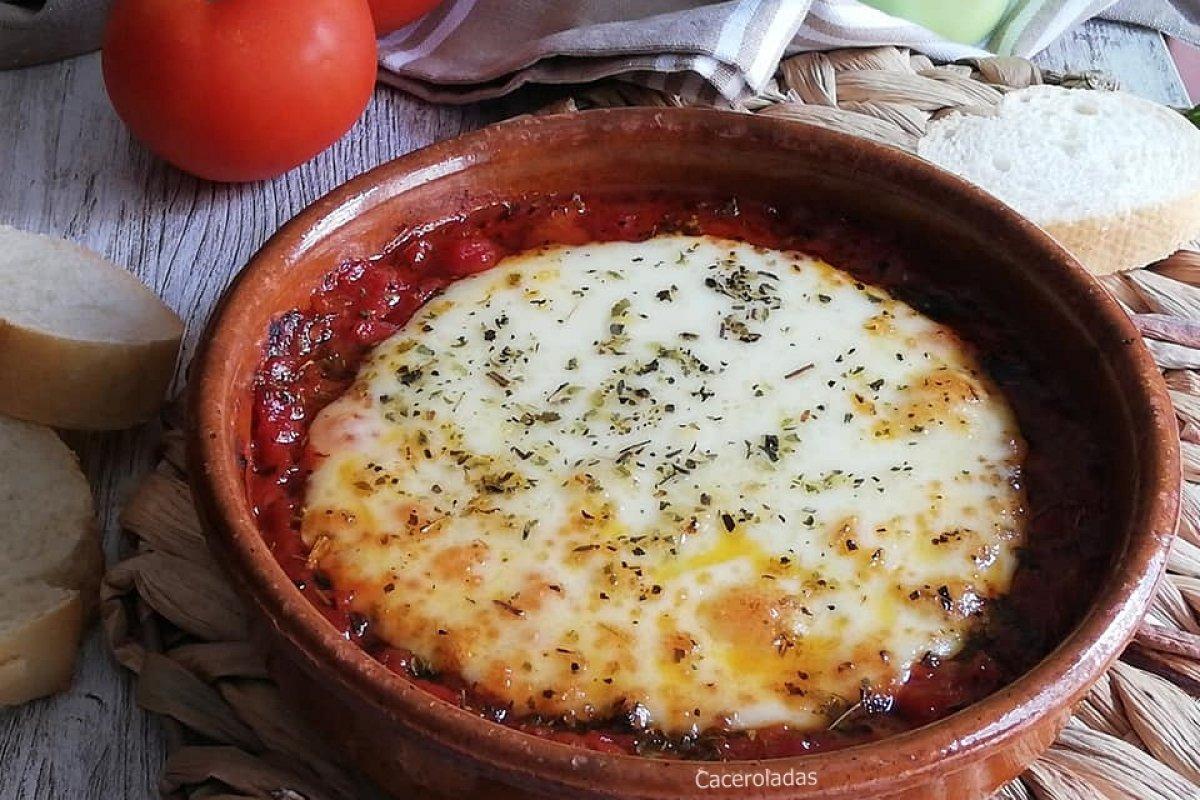 Queso provolone con tomate al horno