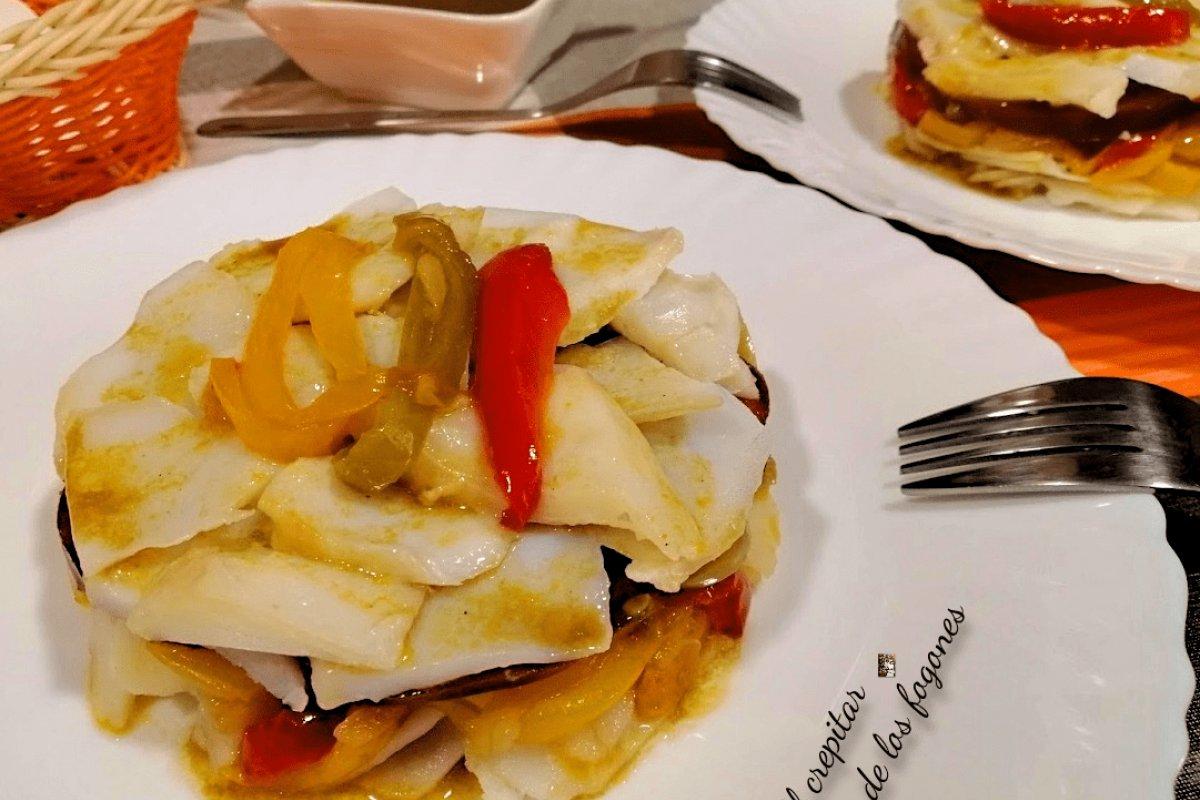 Ensalada de bacalao y patata con vinagreta de naranja